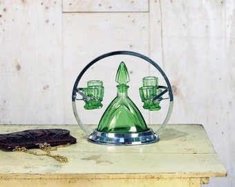 Bottle and 6 green glasses with Vintage stainless steel display stand