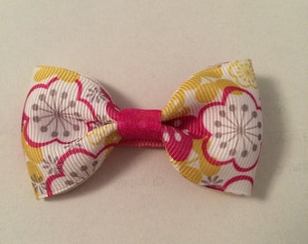 Yellow/pink flower barrette