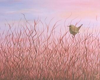 Coastal Wren Original Acrylic Landscape Painting