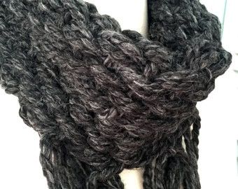 Knot & Cowl Scarf - In Charcoal Gray