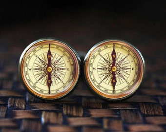 Antique Compass cufflinks, Old Compass cufflinks, compass cuff links, vintage  compass cuff links, glass dome bronze tonr cufflinks