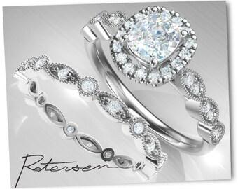 Wedding Ring Set, Bridal Ring Set, Promise Ring Set White Gold, Art Deco Matching Band Cushion Amorphous Diamond Ring