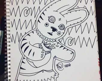 11x14 original cartoon drawing, bunny