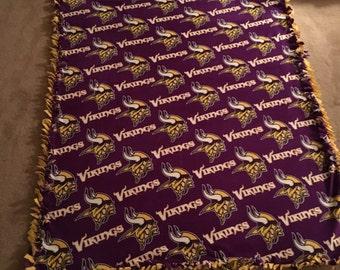Handmade Minnesota Vikings Tie Blanket