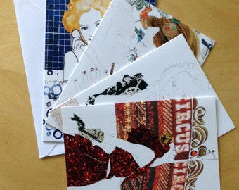Bombshell Vintage Glamour Greetings or Note cards- set of 4 cards