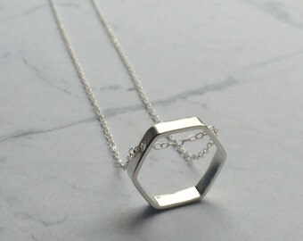 Geometric Hexagon Sterling silver chain necklace. Minimal, honeycomb, simple, polished,
