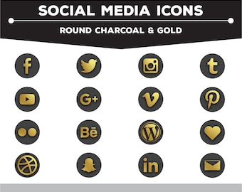 Social Media Icons - Round Gold/Charcoal  PNG Files for Web, Blog, and Print