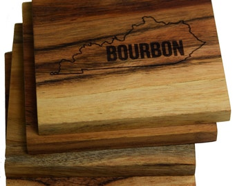 Kentucky Bourbon Coasters - Set of 4 Engraved Acacia Wood Coasters