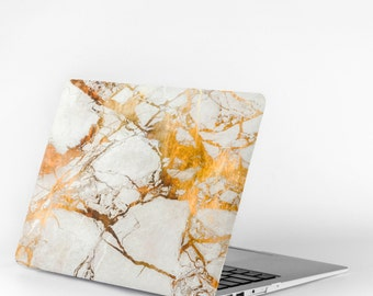 """MACBOOK AIR 13"""" White & Gold Marbled Laptop Cover"""