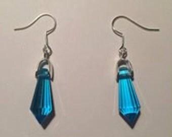 Blue Glass Crystal Teardrop Pendant Dangly Earrings
