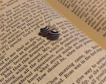 Handmade black and white humbug earrings