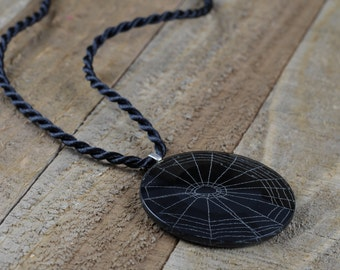 Genuine Spider Web Necklace | Spider Web Pendant with Braided Necklace | Metaphysical Jewelry 35779