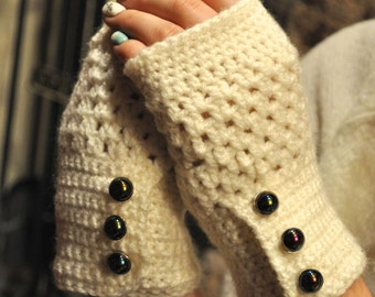 Beige Fingerless Gloves with Blue Pearl Buttons
