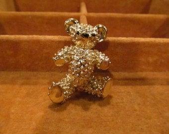 VintageTeddy Bear Brooch, gold-toned with black details