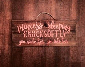 Princess Sleeping Front Door Sign