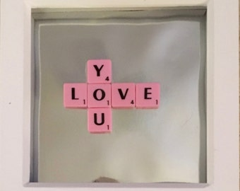 Love you scrabble valentines day picture frame