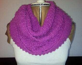 Mauve pink hand knitted infinity scarf