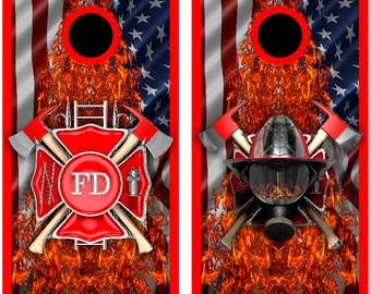 Firefighter American Flames LAMINATED Cornhole Wrap Bag Toss Decal Baggo Skin Sticker Wraps