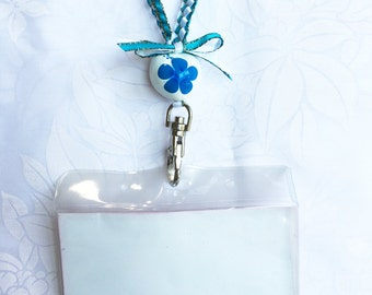 badge lanyard ID holder/Neck strap/Key chain/Lobster clasp/2colors ribbbon/White/Turquoise