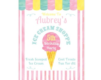 Ice Cream Party Poster, CUSTOM PRINTABLE Ice Cream Shoppe Party Sign, Ice Cream Social Sign 8x10 or 16x20 Inch Jpg or Pdf Format