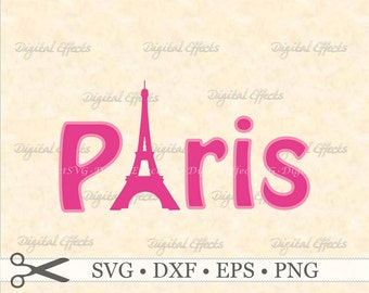 PARIS SVG, Eiffel Tower SVG, France Svg, Paris Word Art, Silhoutte Svg, Png, Dfx, Eps, Cut Letters,Silhoutte Studio Cricut Vector Cut Files