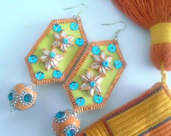 Green Fabric Earrings, Fabric Jewelry,  Orange Handmade Earrings,  Colorful Fabric Earrings,  Dangle Earrings,  Orange Flower Earrings
