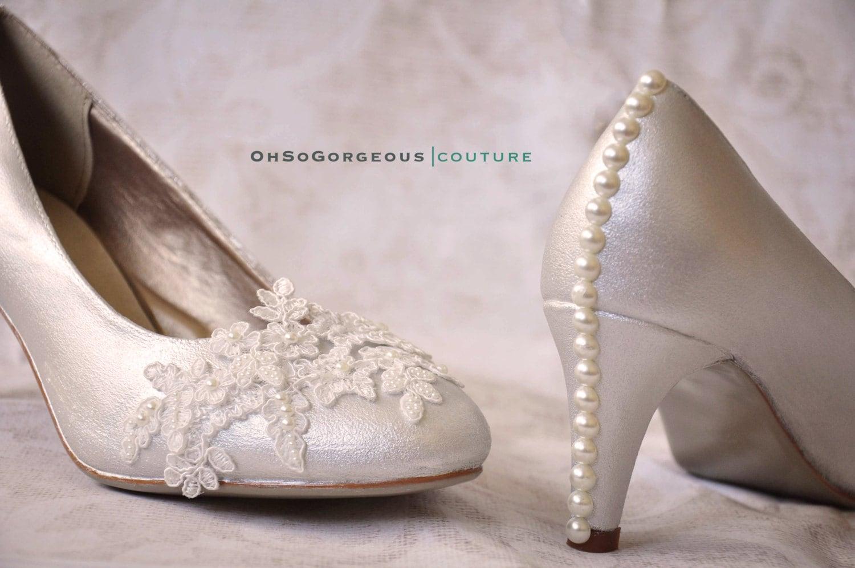 Wedding High Heels Ivory: Ivory Wedding Shoes Ivory Bridal Shoes Ivory Low Heels Ivory