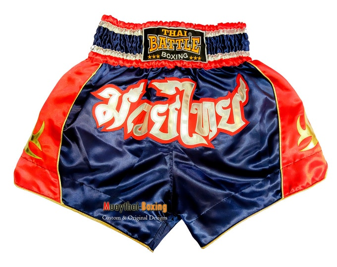 Thai Battle Boxing Shorts Martial Arts - Blue/Red