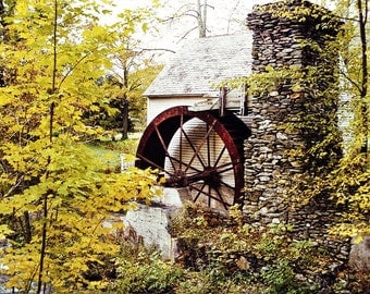 Autumn Colors, Fall Foliage, Colorful Trees, Old Mill House, New England Travel Photo, Autumn Wall Art, Stone Chimney, Vermont Print