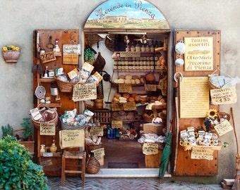 Food Market, Pienza Italy, Tuscan Market Photo,  Pienza Print, Pienza Market, Tuscany Storefront, Italy Wall Decor, Fine Art Photo