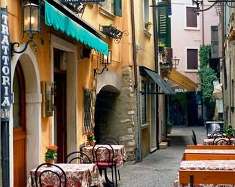 Trattotia Photo, Garda Italy, Pizzeria Print, Ristorante,  Wall Decor, Trattoria  Outside Tables, Fine Art Photographs