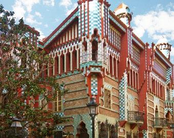 Architecture, Barcelona Spain, Multi Colored House Barcelona, Balconies Window Decor, Barcelona Art, Fine Art Photograph