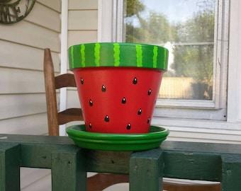 "Hand Painted Watermelon design 6"" Terra Cotta pot with Saucer"