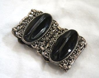 1920s Costume Jewelry - Black Bracelet