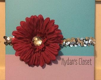Red sequin flower headband