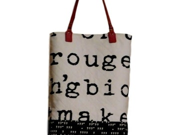 Quilted Tote, Type Face, Black and White, Red Leather Straps, Pockets, Zipper