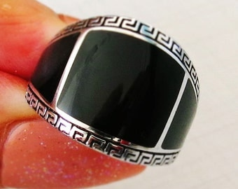 MEN RING 925 STERLING silver black onyx stone #459