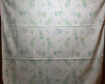 """Free Shipping Vintage Baby Blanket """"Nursery Rhyme"""" Craft Sewing Reclaimed Repurposed"""