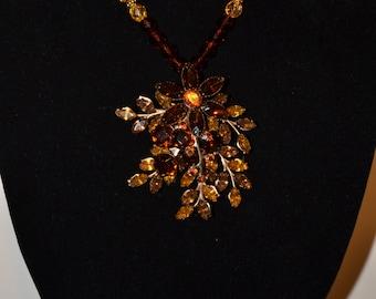 Vintage amber colored prong set pendant/necklace