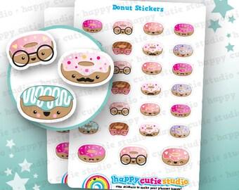 27 Cute Donut / Doughnut Planner Stickers, Filofax, Erin Condren, Happy Planner, Kawaii, Cute Sticker, UK
