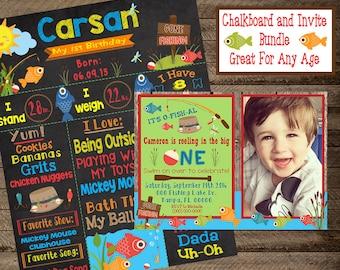 fishing chalkboard, boy first birthday chalkboard, fishing invite, fishing invitation, fishing 1st birthday, second, fishing birthday party