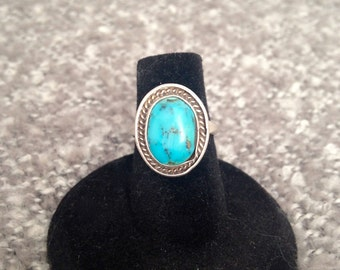 Signed Sterling Silver and Turquoise Ring