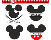 Mickey Monogram Svg,Mickey Mouse Svg, mickey pirat, vector files for silhouette,  mickey mouse clipart
