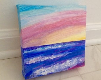Acrylic Ocean Sunset Painting 6x6 with Free Shipping