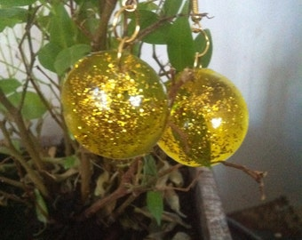 Yellow colored resin earrings