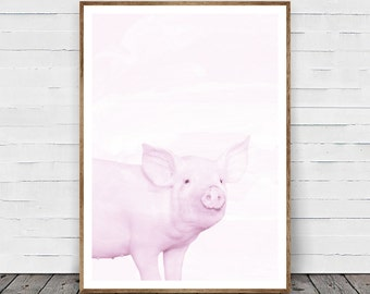Pig Print, Cute Baby Piglet Wall Art, Farm Animal Art, Black and White Nursery Home Decor, Printable Art, Instant Download, Pig Photography
