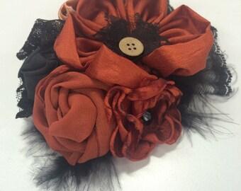 Sheer chiffon satin polyester rust black gold handmade fabric flower formal wedding accessory