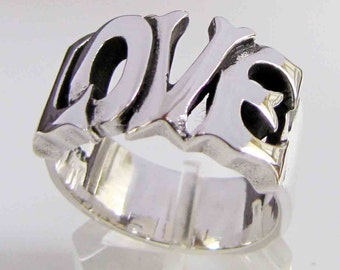 Sterling silver ring Love one word - letter ring