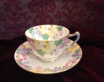 Crown Staffordshire Pastel Floral China Tea Cup and Saucer