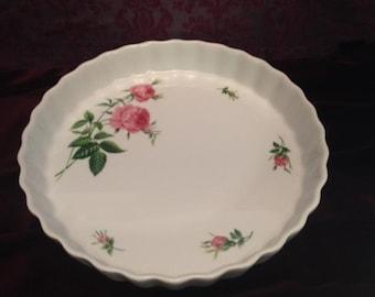 Vintage ChristineHolm Porcelain with Roses  Quiche Tart Bake Dish